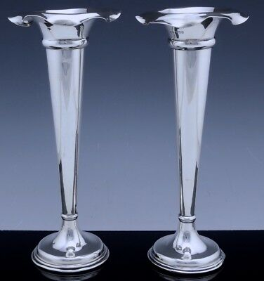 Excellent Matching Pair 1906 Edwardian English Sterling Silver Flower Rose Vases