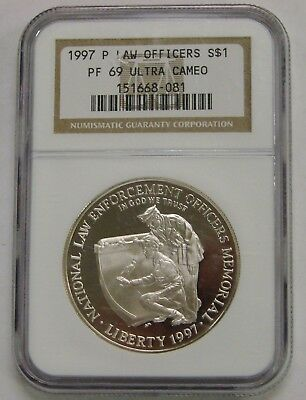 1997 P - Law Enforcement Proof Commemorative Silver Dollar - NGC PF 69 Ultra Cam