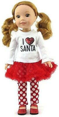 Christmas 2pc I Love Santa Outfit for American Girl Wellie Wishers Doll Clothes