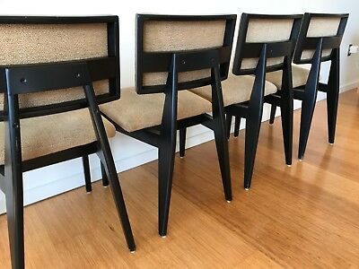 George Nelson Herman Miller Black Side Dining Chairs Mid Century 4669 - Set of 4