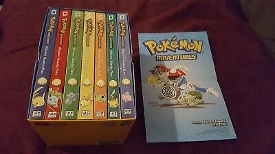 Pokemon Adventures Books Red & Blue Box Set 1-7 & collectible Poster