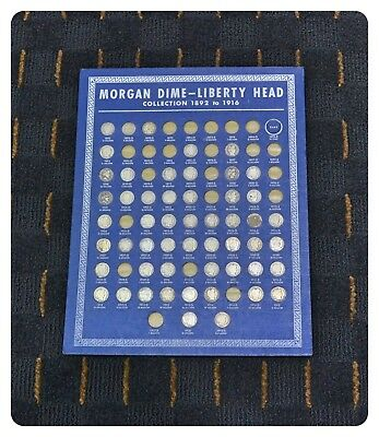 Barber Dime Collection - Vintage 1938 Whitman Coin Board - 53 Coins Vibrant Blue