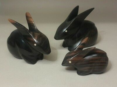 Vintage Mid Century Carved Ebony Wood Rabbit Bunnies Figure Trio Set 60's Modern