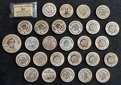 (28x) Vintage WOODEN NICKELS / Mix of Diff. State Souvenirs, Advertisements, etc