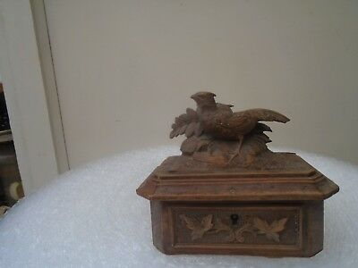 small antique black forest jewellery casket with carved bird  NEEDS RESTORATION