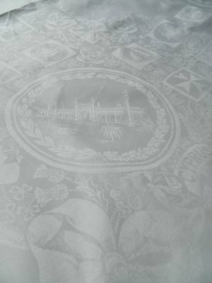 Fantastic white Irish linen damask tablecloth - British Empire Exhibition 1924