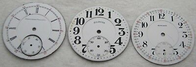 Lot Of 3 16S Porcelain Illinois Howard Pocket Watch Dial Parts