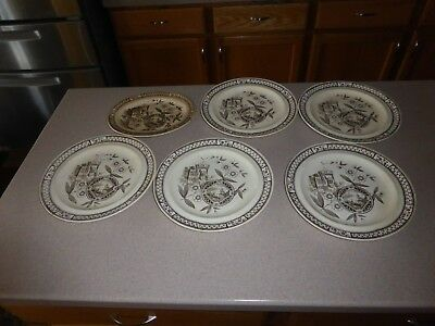 "Aesthetic Movement Platter Plate Hill Pottery Norman 10"" 1875 Ironstone LOT of 6"