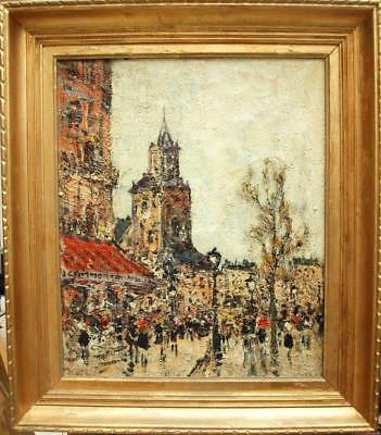 Early 20th CENTURY FRENCH IMPRESSIONIST STREET & CAFE SCENE Antique Oil Painting