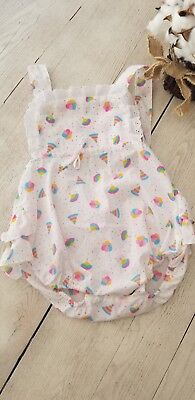 Vintage Baby Girls Ruffle Bum Sunsuit Romper One piece Size 12 mths
