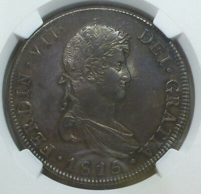 Chile 8 Reales 1815 So-FJ AU 58 NGC