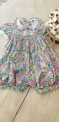 Vintage Carriage Boutiques Toddler Girls Smocked Floral Romper One piece Sz 2T