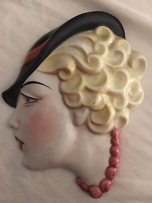 Genuine Original 1920 Art Deco Lady Wall Mask By Cope & Co Number 13