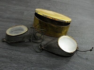 Vintage Antique Motorcycle Goggles + Gold Toned Eye Glasses Box/Case