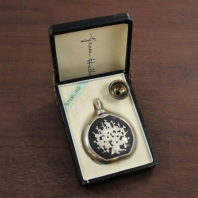 Perfume Bottle in Box Vintage .950 Sterling Silver Etched Black Accents