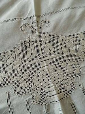 Vintage pale cream Irish linen tablecloth or bedspread - embroidery & punchwork