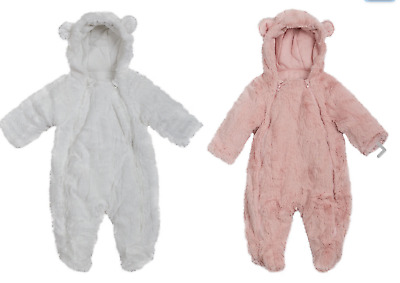 Ex UK Chainstore Baby Faux Fur Snowsuit Boys, Girls Coat Newborn to 12 months