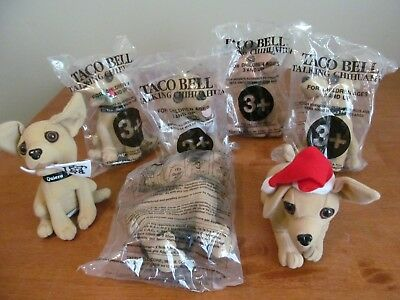 Lot Of 7 Taco Bell Talking Chihuahua Dogs Plush 5 are BRAND NEW in packaging