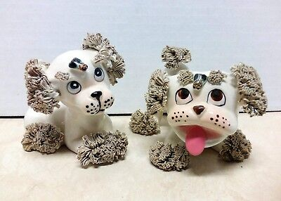 Grouping of (2) Vintage 1950's/60's Ceramic Dogs/Puppy's with Bugs Made In Japan