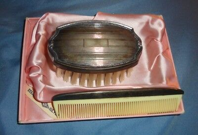 Antique Sterling Silver Child Military Set Brush, Comb, Original Box 70 Yrs. Old