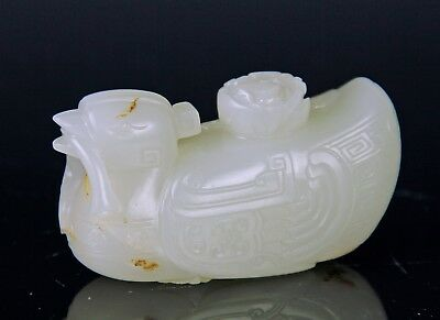 Exquisite Antique Chinese Carved White Jade Duck - Qing Dynasty