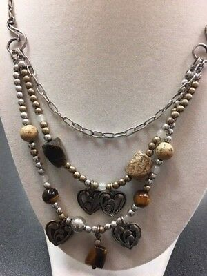 Enesco Jim Shore  Necklace   Hearts triple drop with stones   Two-Tone   New