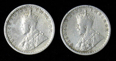 Lot of 2 India-British 1/4 Rupee 1936 silver coins