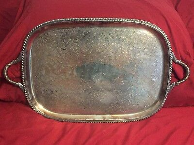 Vintage Silver Plated Handled Ornate Design Engraved Serving Tray