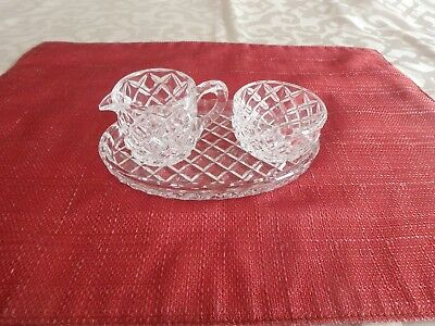 Vintage Antique Clear Cut Glass Small Sugar And Creamer W/tray Beautiful Euc