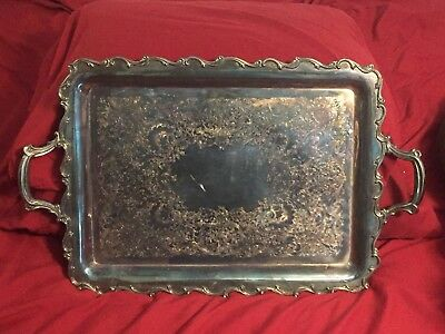 Vintage Heavy Silver Plated Handled Footed Ornate Design Engraved Serving Tray