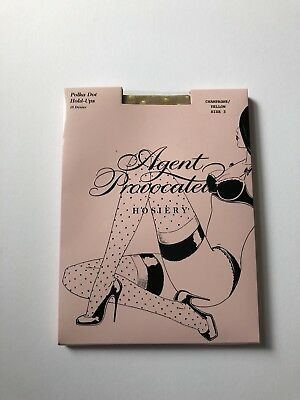 Agent Provocateur Polka Dot Holdups Yellow 3 Brand New In Box