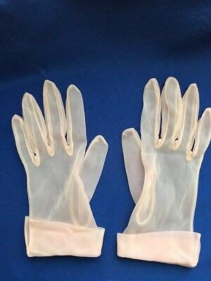VINTAGE LADIES Gloves Unbranded Pink Nylon Sheer with Cuff
