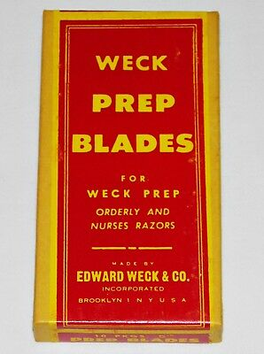 1940's WECK Sealed 50 PREP Straight RAZOR BLADES Antique NEW OLD STOCK Vintage