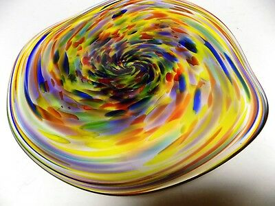 Hand Blown Glass Platter #886 Art Bowl End Of Day Bold Beautiful Color Vivid!!!