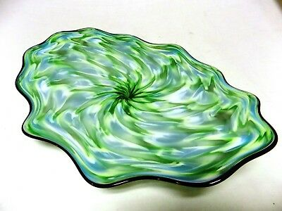 Hand Blown Glass Platter #887 Art Bowl Vivid Turquoise Green Rippled Color