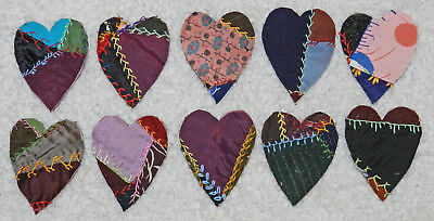 10 Primitive Antique Vintage Cutter Crazy Quilt Fat Hearts! Crafts #14