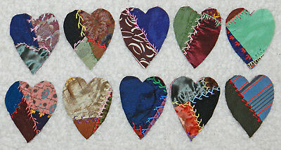 10 Primitive Antique Vintage Cutter Crazy Quilt Fat Hearts! Crafts #9