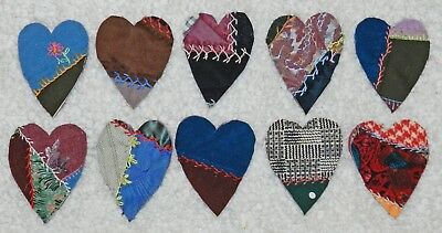 10 Primitive Antique Vintage Cutter Crazy Quilt Fat Hearts! Crafts #13