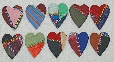 10 Primitive Antique Vintage Cutter Crazy Quilt Fat Hearts! Crafts #20