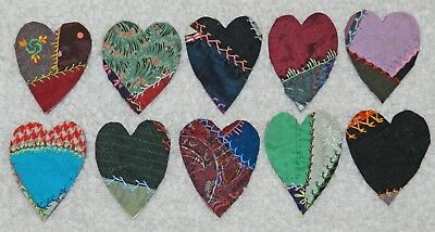 10 Primitive Antique Vintage Cutter Crazy Quilt Fat Hearts! Crafts #17