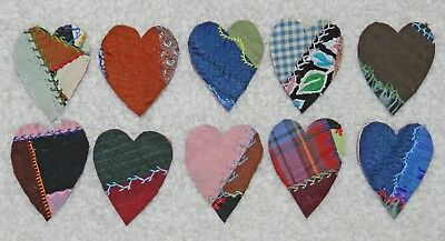 10 Primitive Antique Vintage Cutter Crazy Quilt Fat Hearts! Crafts #18