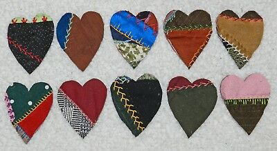 10 Primitive Antique Vintage Cutter Crazy Quilt Fat Hearts! Crafts #7