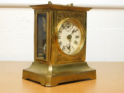 Antique 1880's Brass Carriage Clock Wind-Up Musical Alarm Clock - AS-IS