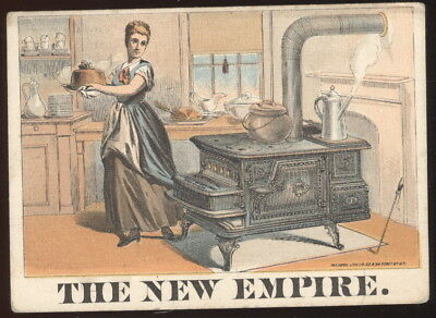 1880S New Empire Cook Stove Trade Card, Stowell Bros. Elmira, N.y.