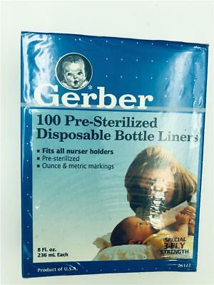 NEW Gerber 100 Pre-Sterilized Disposable Bottle Liners 8 fl oz 3 Ply Strength