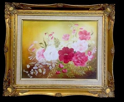 """VTG Cabbage ROSE OIL PAINTING Pink White Red Canvas Gold Gilt Frame 19"""" X  16"""""""