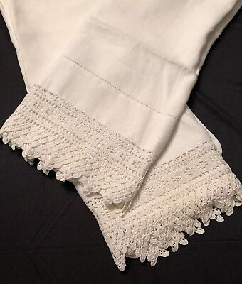 Vintage Linen Set Pillowcases Buttery Soft With Hand Crochet Border Edge 21X 30