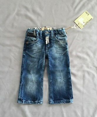 NWT JOHN GALLIANO Kids BOYS BLUE DENIM LOGO JEANS SZ 12 MONTHS / 1 YR