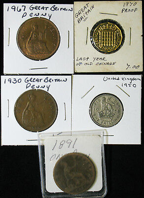 Lot of 5 Great Britain Penny, 3 Pence (Proof), Shilling 1891-1970
