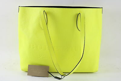 NWT  1295 Burberry Large Remington Logo Soft Leather Tote - Neon Yellow b16bff4373614